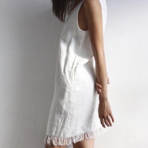 0f33897db2 SALE Madison Linen Fringe Dress in White